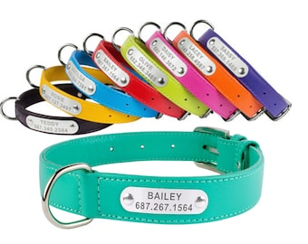 Dog Collar Personalized Leather Nameplate Pink Red Green Blue Purple Small Medium Large Soft