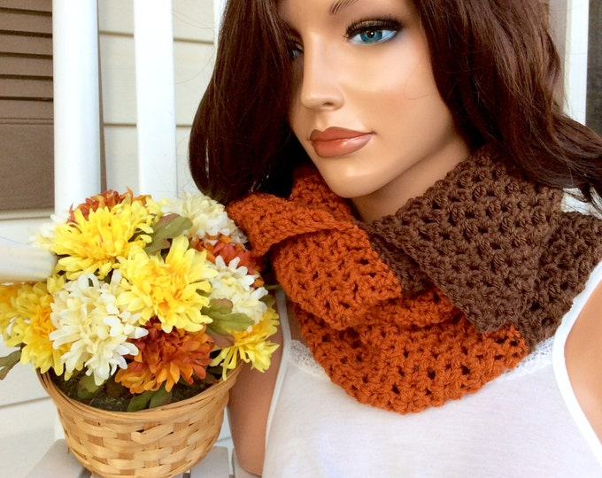 Two Toned Orange & Brown Crochet Cowl, Crochet Scarf for Women and Teens, Cozy Warm Winter Cowl, Fashionable Crochet Cowl