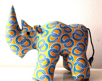 African Stuffed Rhino #01151 (Large size) made by Ugandan Disabled Women