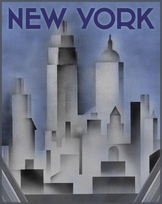 New York Print Art Deco Style New York Poster Art Deco