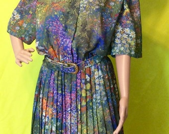1970s Watercolor Floral Pleated Midi Dress, L
