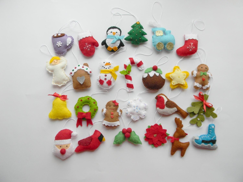 SALE Christmas Felt Ornaments Set 25 Advent By