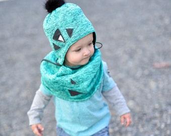 30%, Tuque aqua balance has Pompom for child, winter, boy, recycled fur toque toque