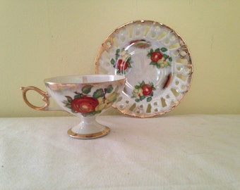 Vintage Tea Cup and Saucer Set -  Fruit Medley Iridescence 22K Gold - Reticulated Saucer MINT Teacup Set