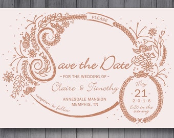 Custom Made Save the Date Card - Floral - Printable or Printed - Hand Drawn - Unique Design - Envelopes - Wedding Stationary - Customizable