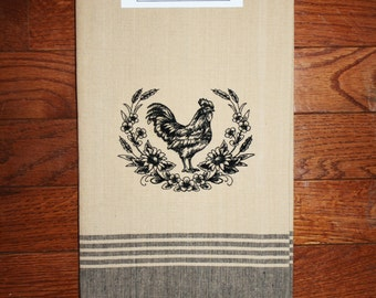 rooster kitchen decor~ rooster kitchen towel~ chicken tea towel ~ love chickens