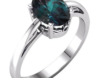 1 carat alexandrite engagement ring 14k white gold alexandrite ring rare natural alexandrite engagement - Alexandrite Wedding Ring