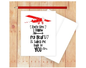 Vintage Airplane Card, Valentine Card, Romantic Card, Card for Pilot, Funny Love Card, Funny  Anniversary Card, Follow My Heart Card