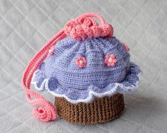 Cupcake Purse, Cupcake Bag, Girl Purse, Crochet Cupcake Purse, Crochet Cupcake, Crochet Purse, Crochet Bag, Birthday Gift, Back to School