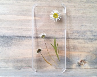 iPhone 5 case, real pressed daisies phone case, floral hard case, unique phone case