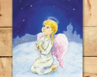 Angel prying Greeting card Angel Guardian Christmas card Angel illustration Angels collection cards Art for Kids Nursery wall decor