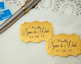 Old Gold Printed Save The Date seals. Custom printed Wedding stickers. personalised Pearlised Envelope seals. Wedding favours Vintage gold