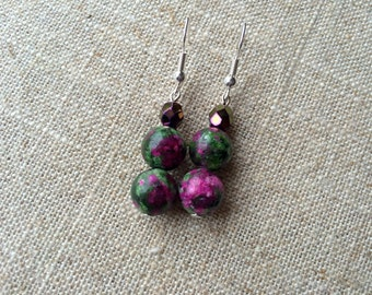 Vivid Green and Pink Ruby Zoisite Pendant Earrings