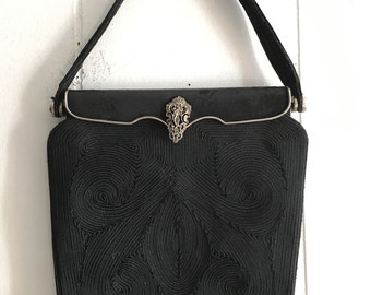 1940s rayon cord purse | vintage evening bag with marcasites
