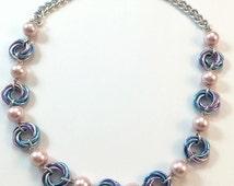 Pastel Mobius Necklace, Pink Lavender Blue Chainmaile,  Love Knot Necklace, Infinity Knot Necklace, Chainmail