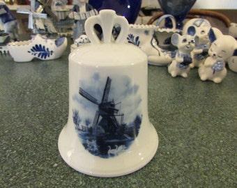 Vintage Hand Painted Porcelain Holland Delft Blue Bell