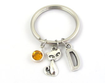 Cat Keychain- choose a birthstone and initial, Cat Keyring, Cat Gift, Siamese Cat Keychain, Cat Charm Keychain, Silver Cat, Cat Bead Initial
