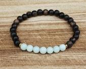 Amazonite Mala Bracelet, Healing Jewelry, Yoga Bracelet, Chakra Jewelry