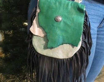 Rustic Deerskin Belt Loop Hip Bag, Black and Tie-Dye Green w/ Fringe