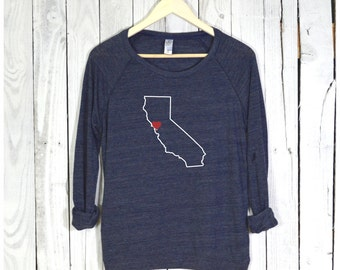 California Shirt. California Pullover. Heart Can Be Placed Over Any City.