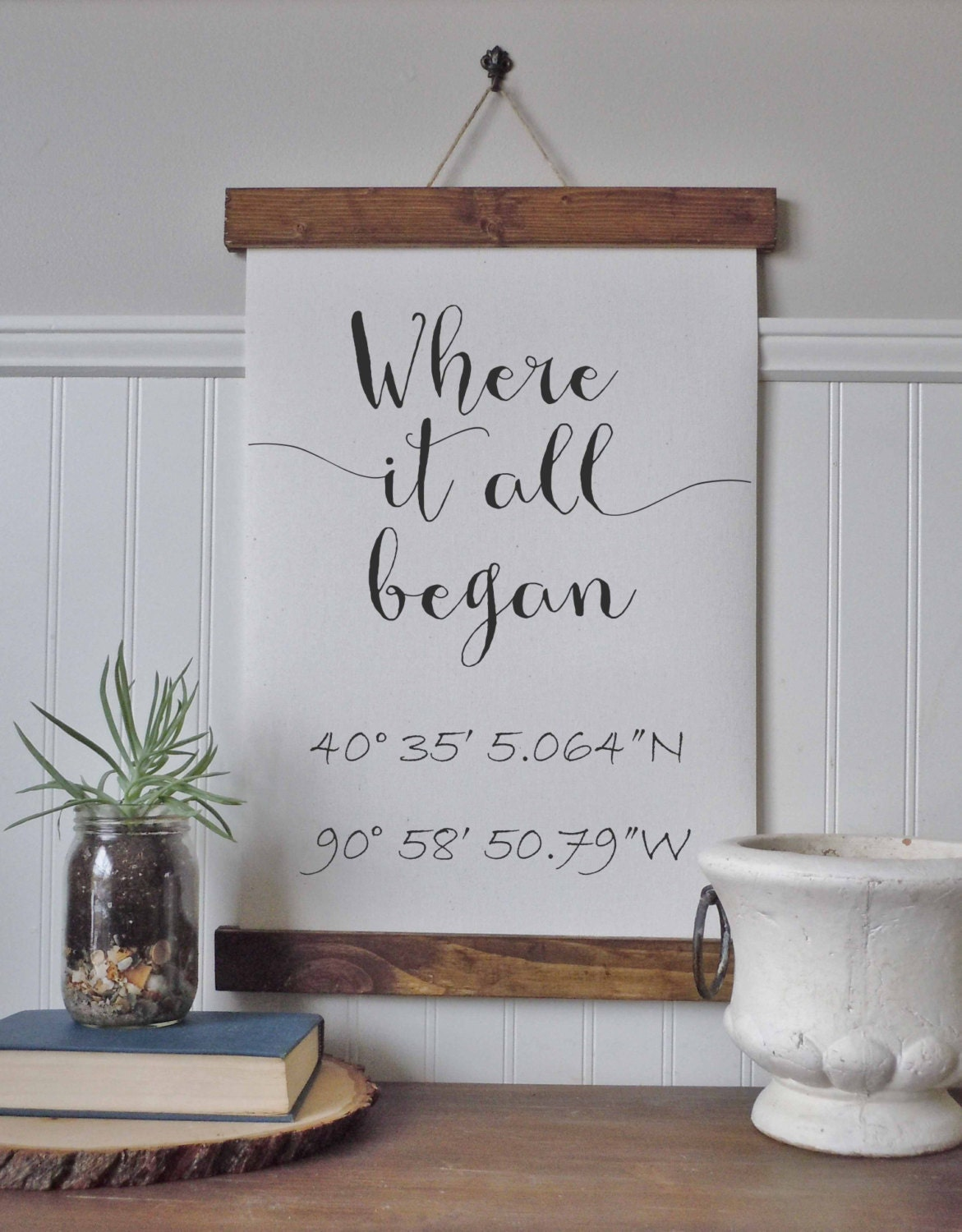 Coordinates sign where it all began calligraphy sign canvas for Painting and decorating advertising ideas
