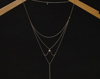 Moon & Stars - Back Necklace (BN-01R) Rose Gold