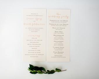 laura wedding programs (sets of 10)  // simple rustic peach blush gold custom romantic calligraphy wedding program