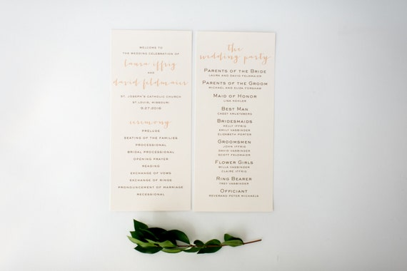 laura wedding programs (sets of 10)  // lola louie paperie