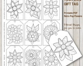 Printable PDF Gift Tag Coloring with retro pop flower design, instant download gift tags adult coloring hippie style 60s florals