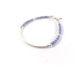 Demi-jonc Silver 925, iolite Beads Bracelet