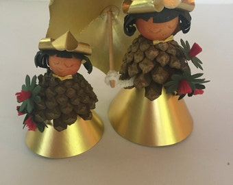 Set of 2 Vintage A/S Erstad & Stubbe-Teglbjaerg Paper and Pinecone Gold Wood Nymphs Fairies - Made in Denmark