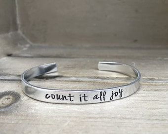 Count It All Joy James 1:2 Bible Verse Bracelet Scripture Bracelet Hand Stamped Aluminum Brass Copper Cuff Bracelet