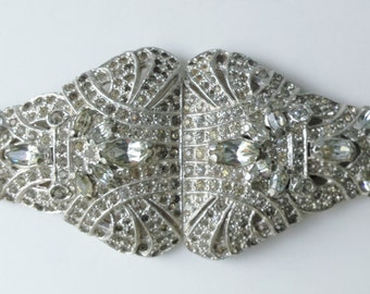 Vintage Duette Collectible Rhinestone Pin Large Duette Brooch Dress Clips Shoe Clips