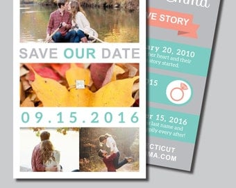 Save Our Date - Love Story cards, DIY Printable PDF