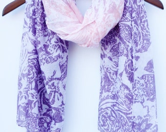 Purple Ombre Chunky Scarf Pink Scarf