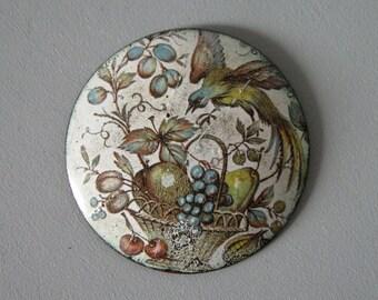 FRENCH ENAMEL BROOCH / Enamel on copper / Print on copper / Round brooch / Retro / Old painting / Round broosch / Metal / 50s / 60s