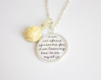 Little Women quote necklace. Louisa May Alcott. Fond of books. Afraid of storms. Jo March. Marmee. Amy. Beth. Meg