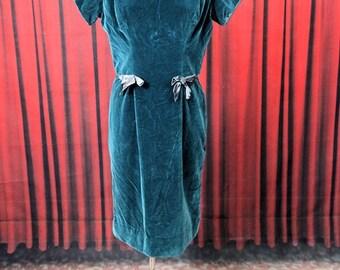 1950's Green Velvet Dress