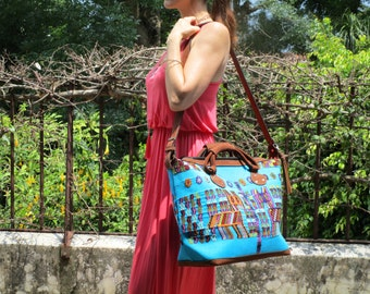 Jazuli Designs: Turquoise blue Guatemalan huipil textile 'Chajul' weekender/travel bag with quality nubuck leather finishes
