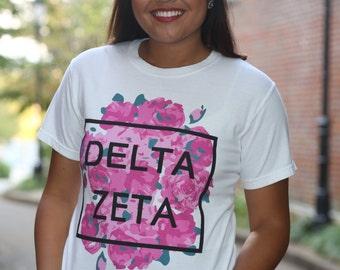 Delta Zeta Comfort Colors Short and Long Sleeve T-shirt - Forever DZ - Delta Zeta Letter Shirt