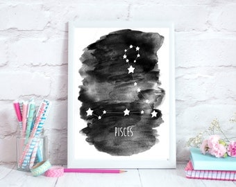 Pisces Zodiac Constellation– Wall Art - Alcohol ink/Mixed Media Poster Print