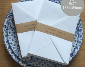 "25 5x7 wedding envelopes A7 envelopes white for invitations, thank you cards, birthday cards card making True size 5.1/4x7.1/4"" 133x184mm"
