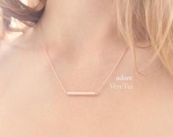 Dainty Brushed Pink RoseGold Sim Bar Barred Rectangular Necklace