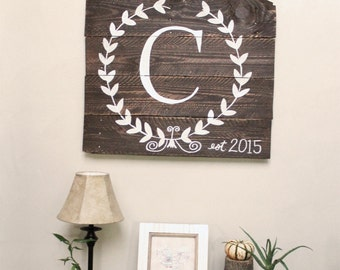 Last Name Initial Large Wooden Sign