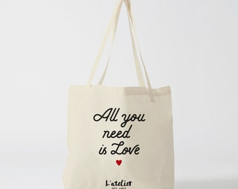 tote bag all you need is love, bag canvas cotton bag, diaper bag, handbag, tote bag, bag of race, current bag, shopping bag, gift for friend
