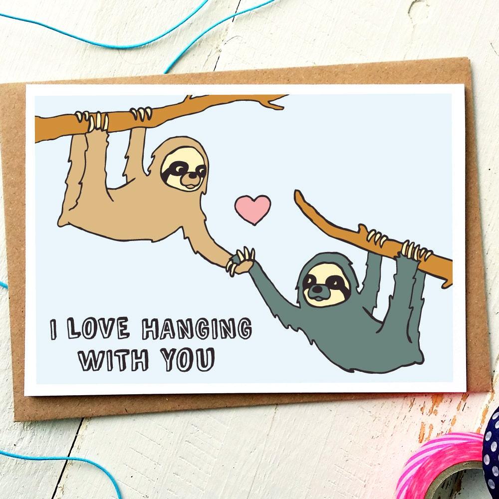 Sloth card – Animal Valentine Cards