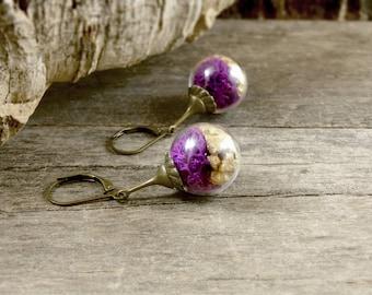 Moss terrarium earrings, Glass ball earrings, Moss earrings, Botanical jewelry, Woodland earrings, Glass bubble jewelry, Statement Earrings