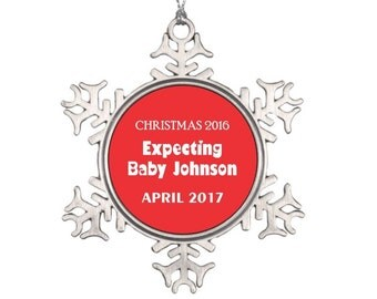 Expecting Baby Christmas Ornament - Personalized Christmas Ornament - Snowflake Christmas Ornament - Gift for Pregnant Mom Expecting Parents
