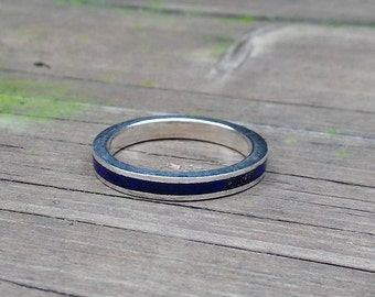 Lapis Lazuli band ring with Sterling silver - gift idea