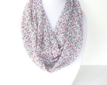 Pink Infinity Scarf, Mother's Day Gift, Pink Floral Scarf, Lightweight Scarf